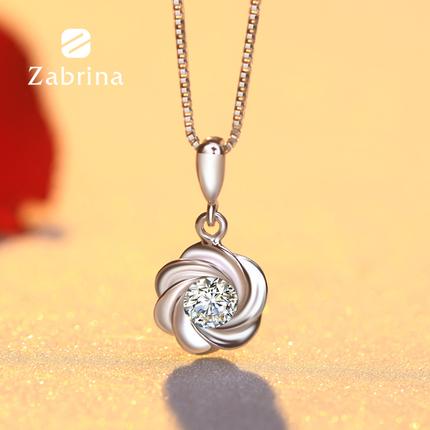 ZABRINA925银珠项链女锁骨链日韩简约短款甜美水晶吊坠闺蜜饰品