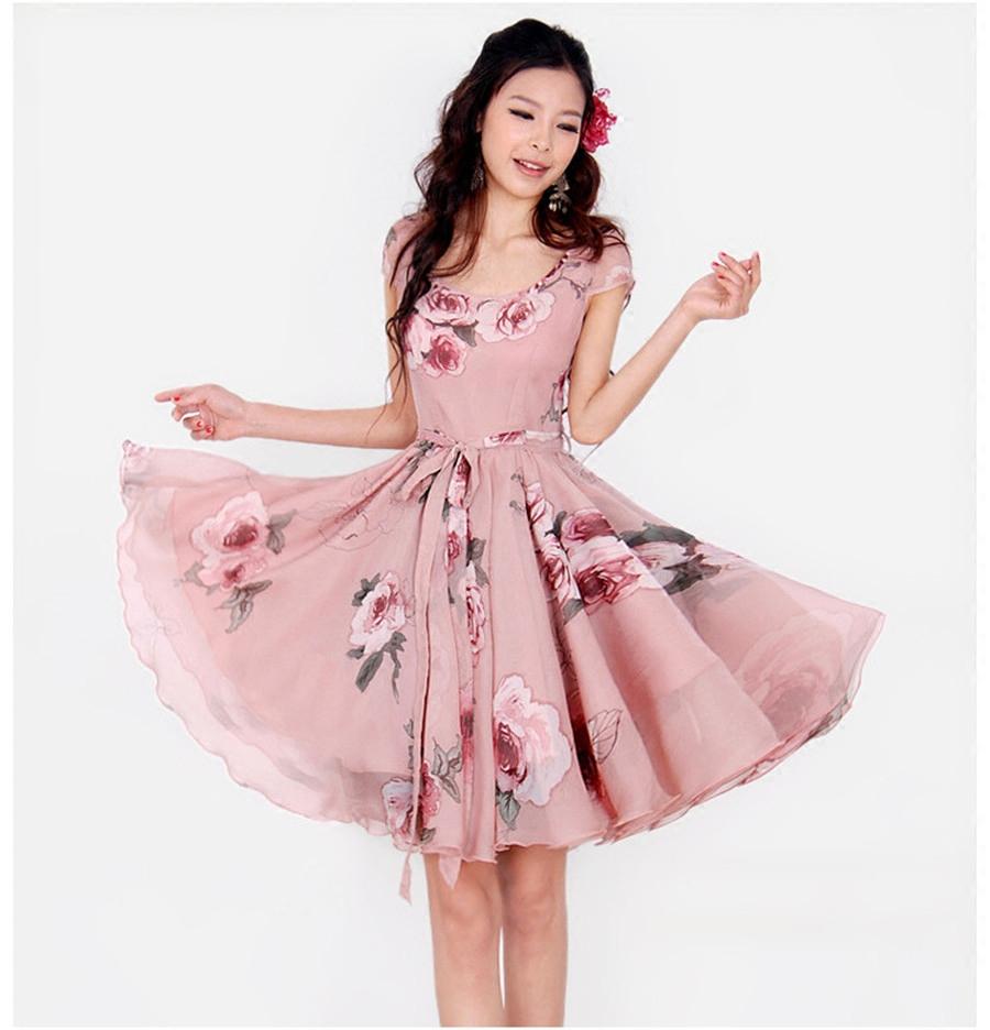 Женское платье Фейерверк новый летний темперамент тонкий большие качели сладкий цветочный печати с коротким рукавом платья сопрягая свечного дыма