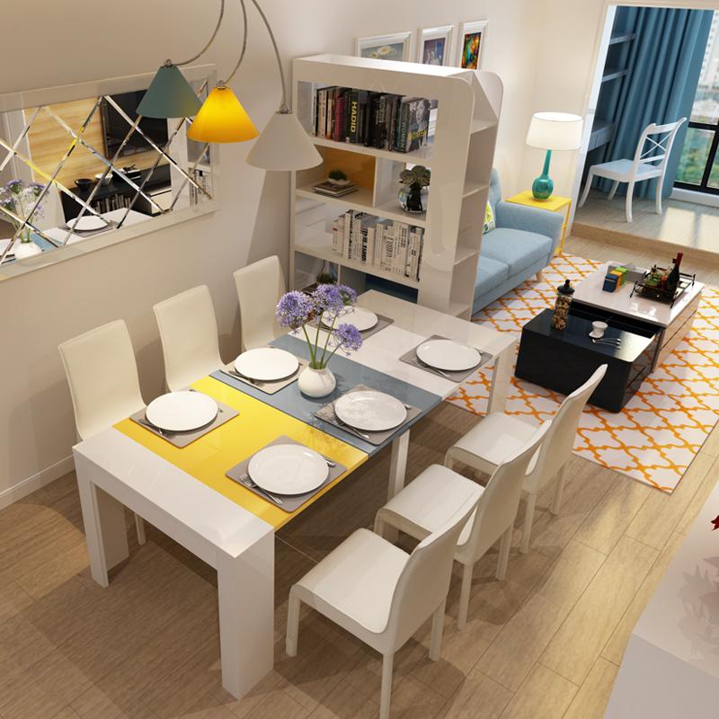 泰林家具 现代简约伸缩餐桌椅组合小户型多功能餐桌折叠饭桌子