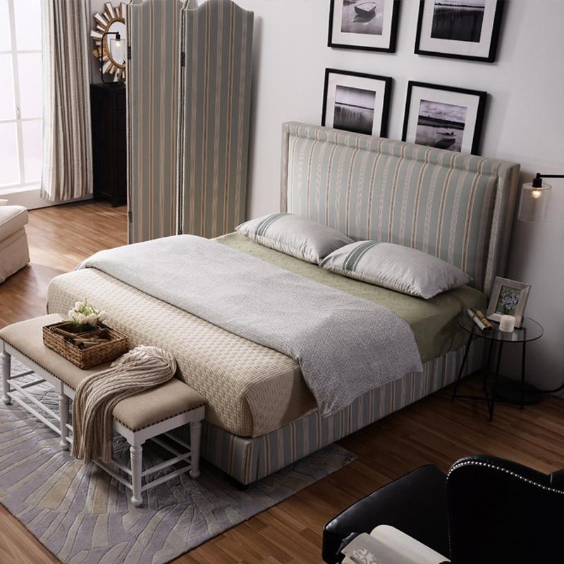 优梵艺术Color美式布艺床 1.5m米高箱储物靠背软包大床主卧田园风