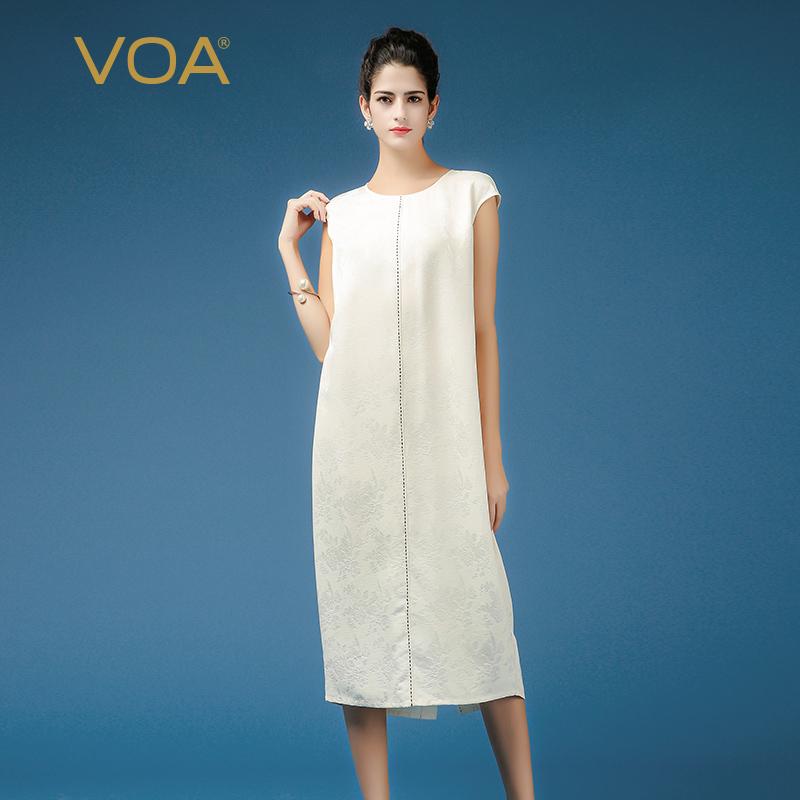 VOA38姆米茉莉花白拱针包袖极简重磅真丝知性淑女连衣裙A7366