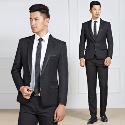 Black Slim Men's Casual Suits Groom Wedding Dresses Hosts Singers Costumes Studios Men's Clothing