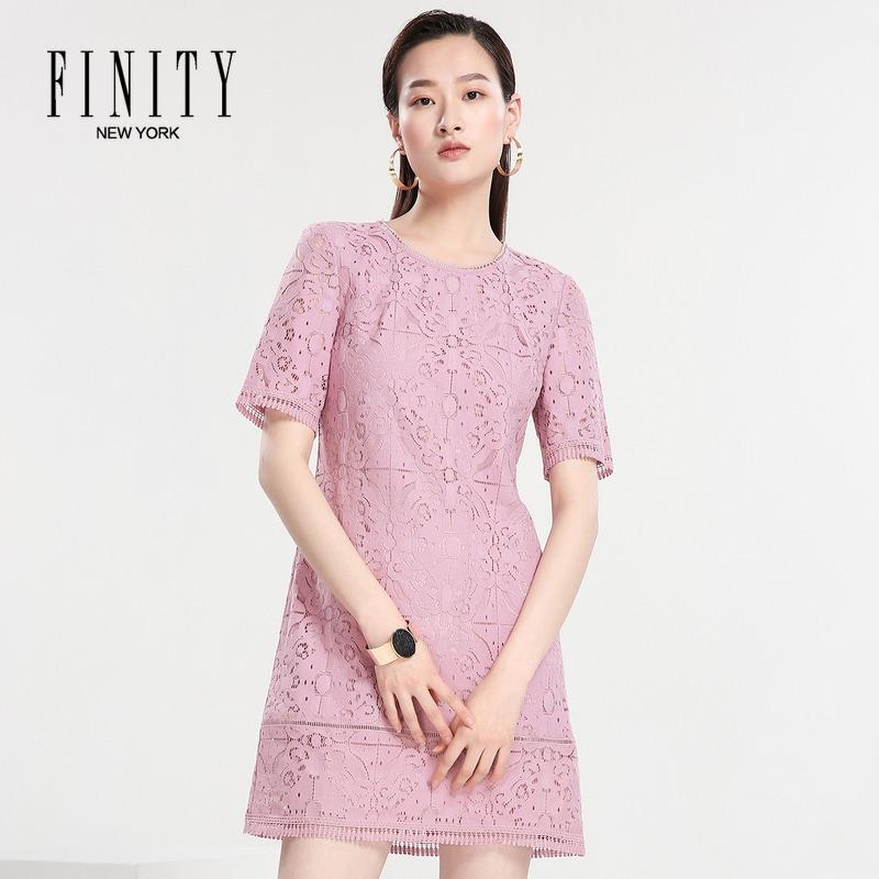 菲妮迪女装夏季新款优雅蕾丝A字裙 短袖镂空连衣裙
