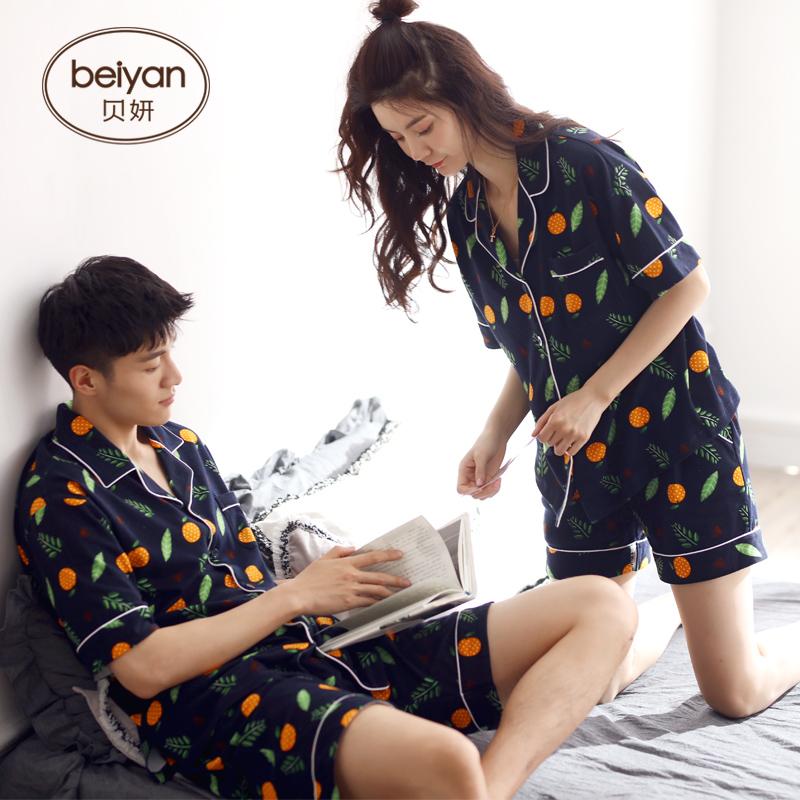 贝妍夏季纯棉情侣睡衣时尚开衫男士家居服可外穿女人短袖全棉套装