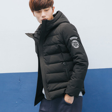 唐狮羽绒服男短款连帽青少年修身款男装冬装外套韩版袖标羽绒衣潮