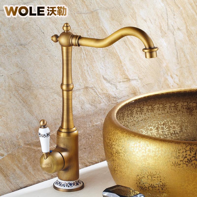 沃勒仿古全铜面盆水龙头F1006578