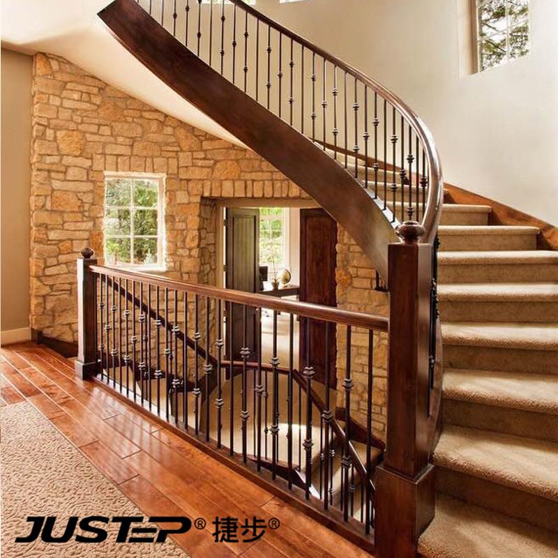 捷步铁艺楼梯立柱围栏扶手楼梯扶手美式黑色