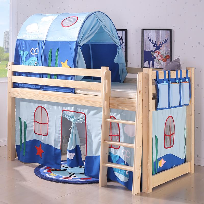 实木儿童床半高床滑梯床四周围栏组合床室内帐篷床男孩女孩实木床