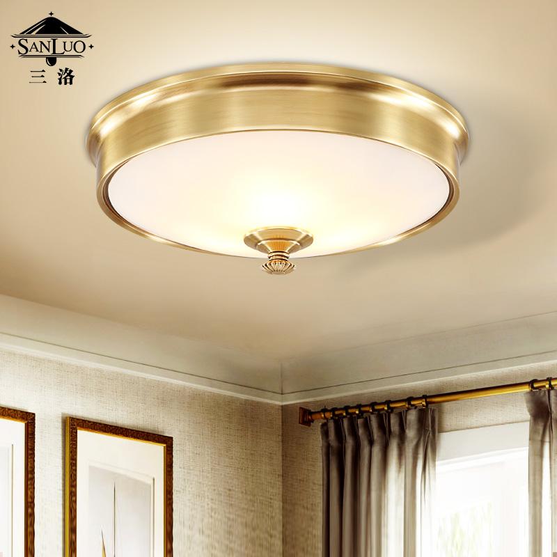 三洛美式简约全铜吸顶灯W060-3C