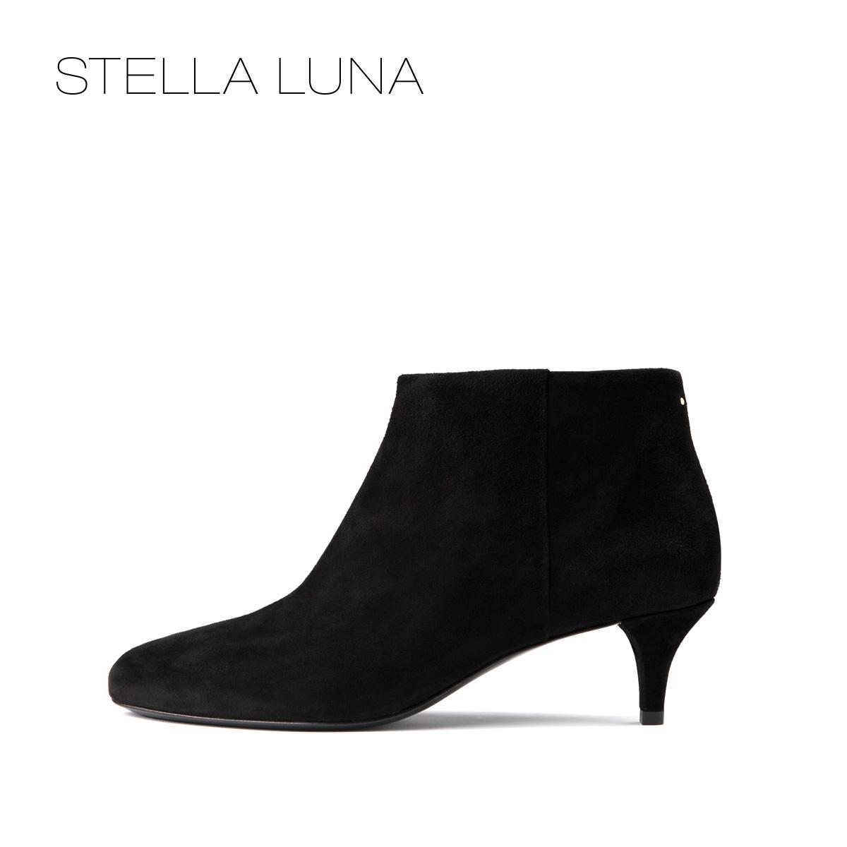 STELLA LUNA女靴冬季中跟圆头短靴女简约靴子SG320C02037