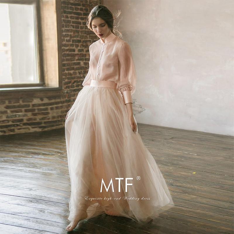 满庭芳婚纱2018新款新娘结婚春季韩版简约齐地长袖礼服森系轻婚纱