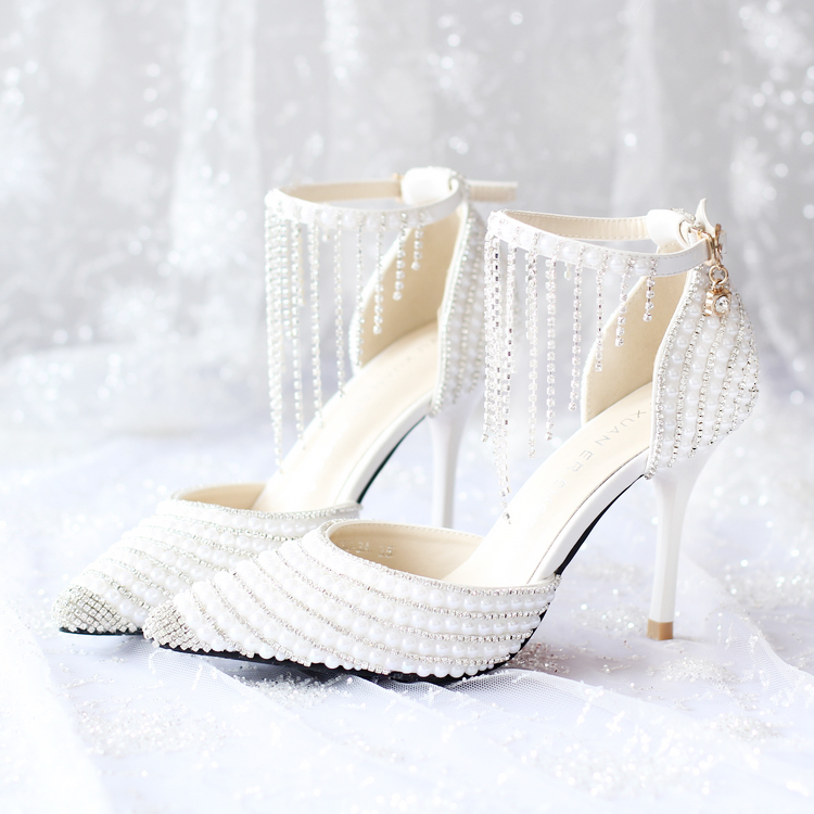 Crystal fringe wristband wedding shoes white pearl bridal shoes tip fine  with wedding sandals 2016 summer 947a3cb2d0