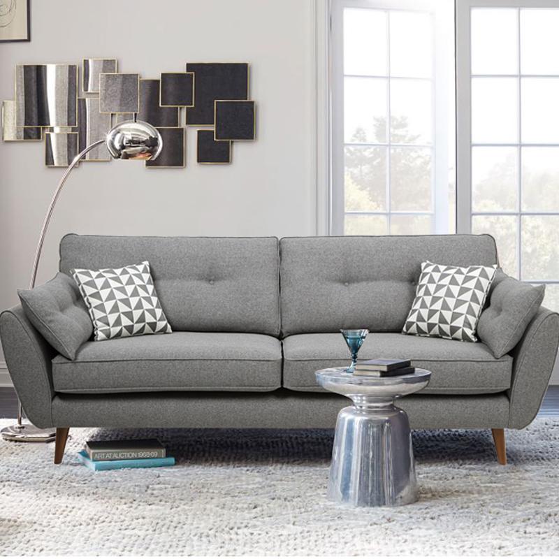 设计师款北欧三人座羽绒乳胶布艺沙发3 现代简约小户型单双位组合