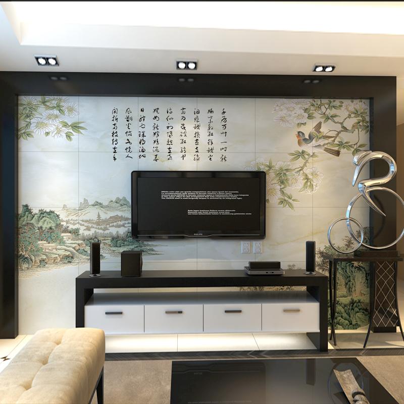 永宜中式彩雕电视墙瓷砖