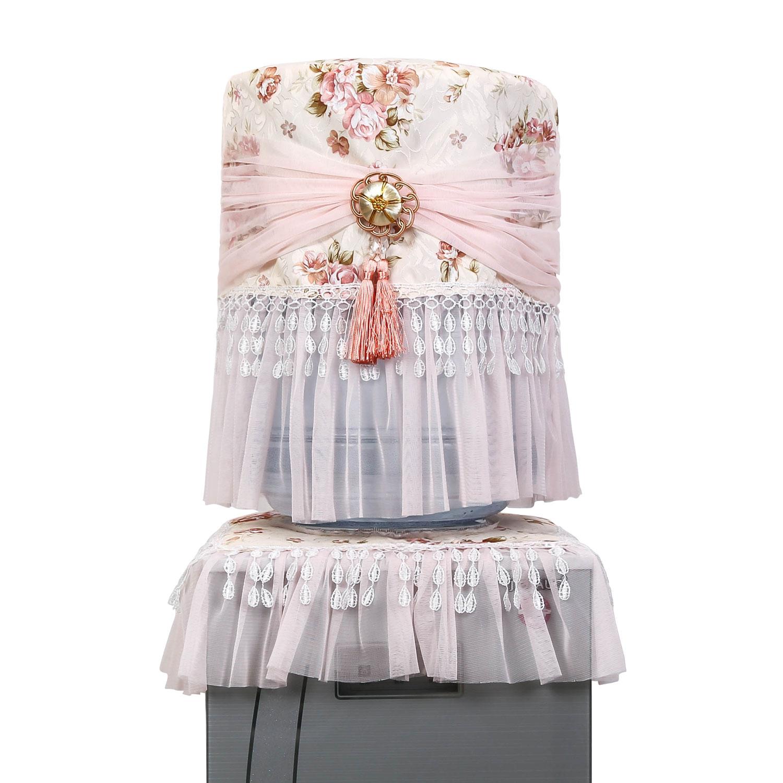 饮水机罩防尘罩子家用餐厅布艺蕾丝简约现代2两件套水桶防尘立式