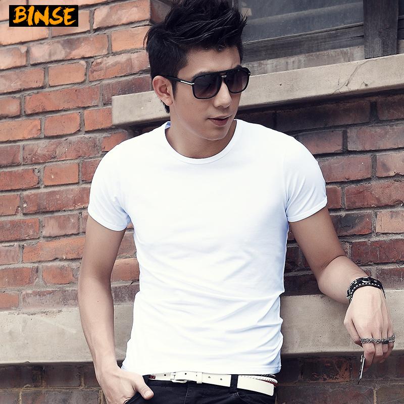 CreamSoda 2017夏季短袖男t恤纯色圆领韩版修身半袖体恤男装纯白色打底衫潮