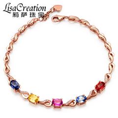 莉萨珠宝 天然斯里兰卡彩色蓝宝石手链 7.5克18K金钻石蓝宝石手链