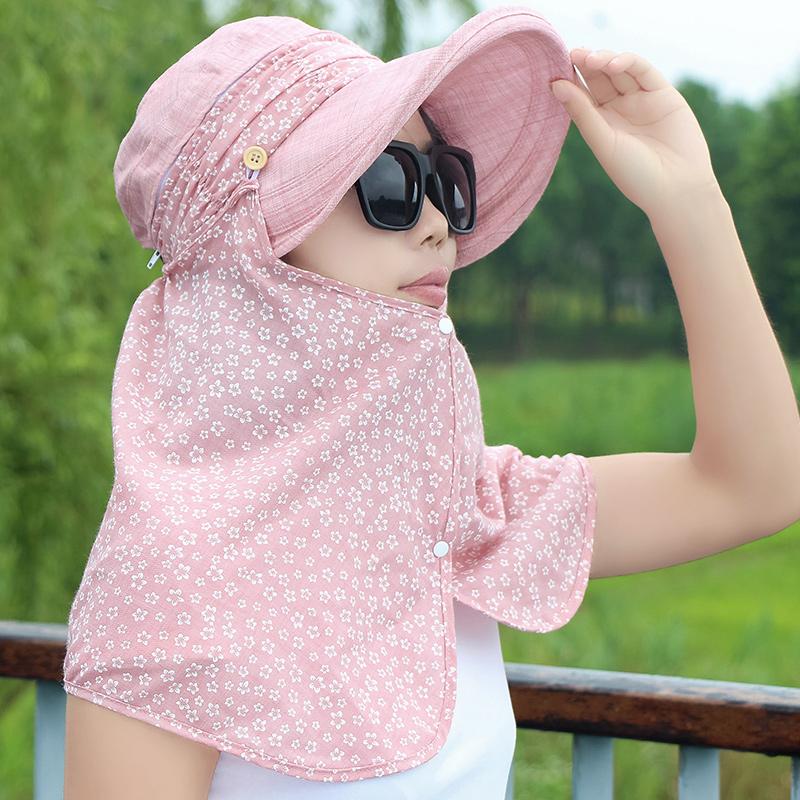 帽子女夏天遮阳帽防晒大沿帽户外防紫外线可折叠太阳帽护脸骑车帽