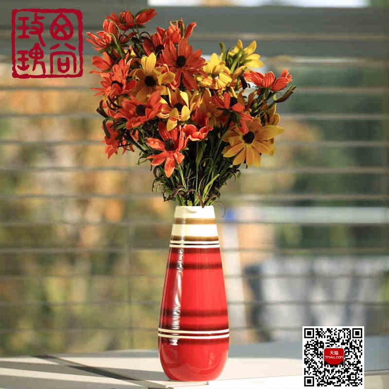 西尚玫瑰红色餐桌小花瓶
