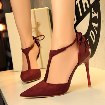 139-1 in Europe and the sexy nightclub show thin shoes high heel with suede pointed T take summer sandals, high heels