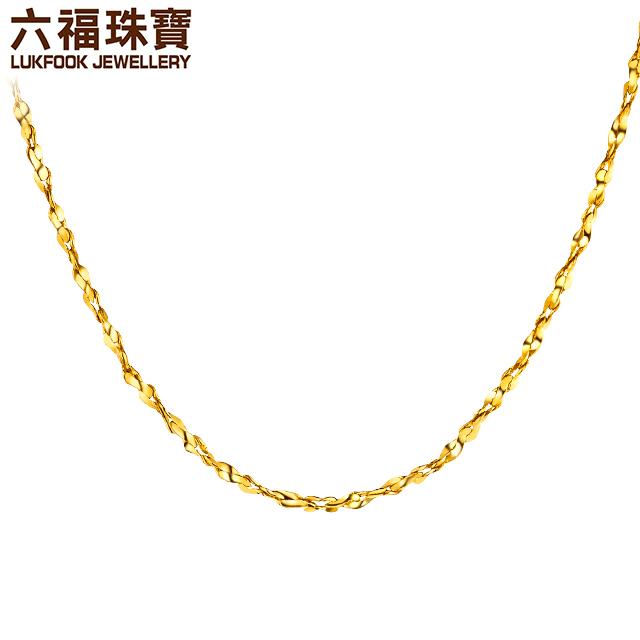 六福珠宝黄金项链女百搭款满天星足金项链金素链计价B01TBGN0009