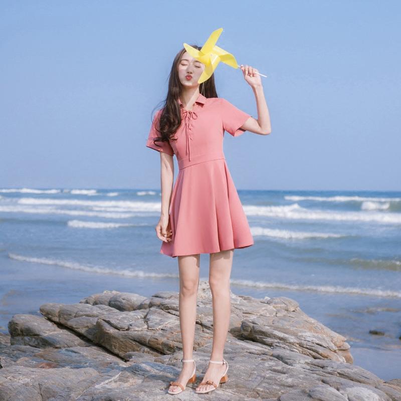 2018夏季新款韩版女装修身显瘦短袖气质系带polo领连衣裙短裙裙子