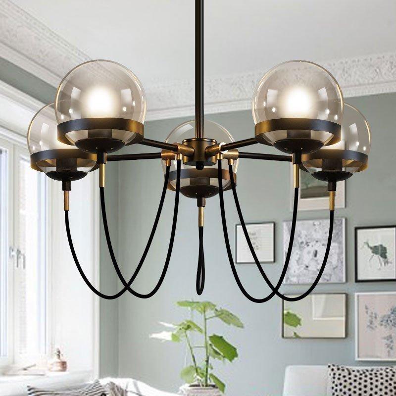 设计师的灯酒店大堂简约后现代复古美式餐厅干邑玻璃球古铜圈吊灯