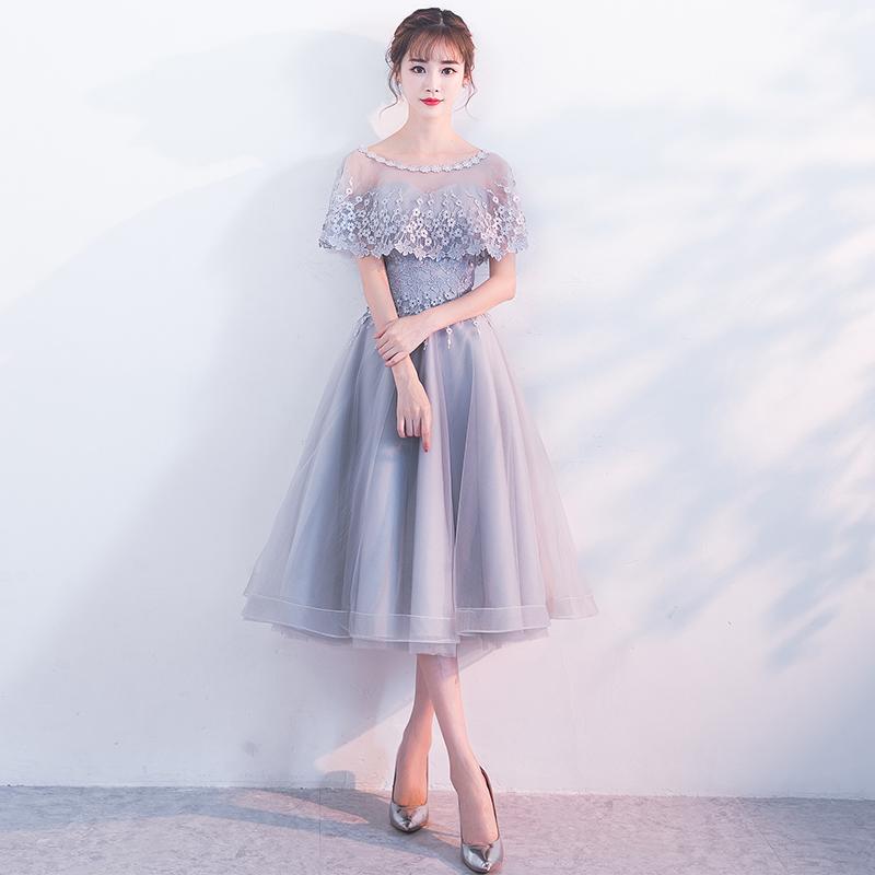 宴会晚礼服2018新款夏伴娘服中长款派对礼服女连衣裙新娘敬酒服秋