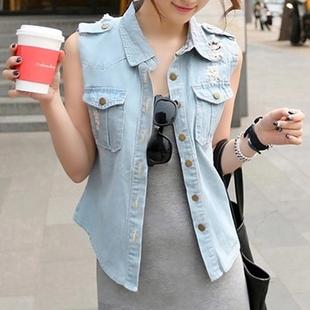 秋季牛仔外套女韩版宽松休闲百搭短款背心马甲薄款短装开衫上衣夏