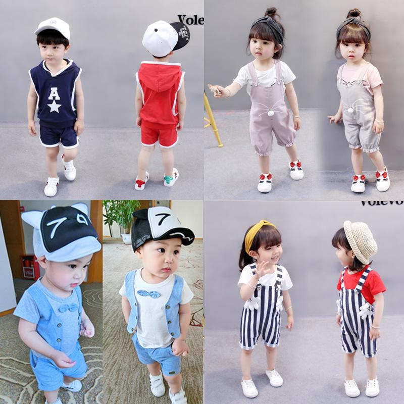 儿童短袖套装 童装 男童夏装女宝宝T恤短裤儿童套装1-2-3-4-5岁潮