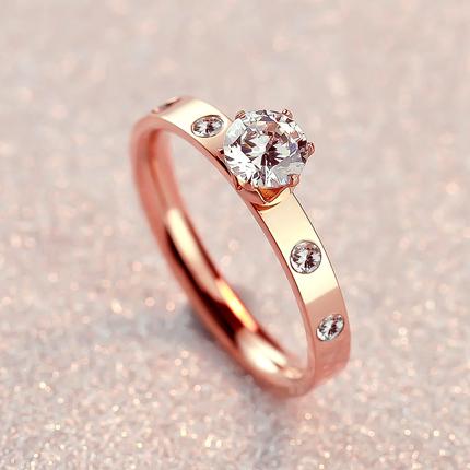 陌尚镀18K玫瑰金六爪单钻戒指女钻戒韩版彩金婚戒配饰品礼物