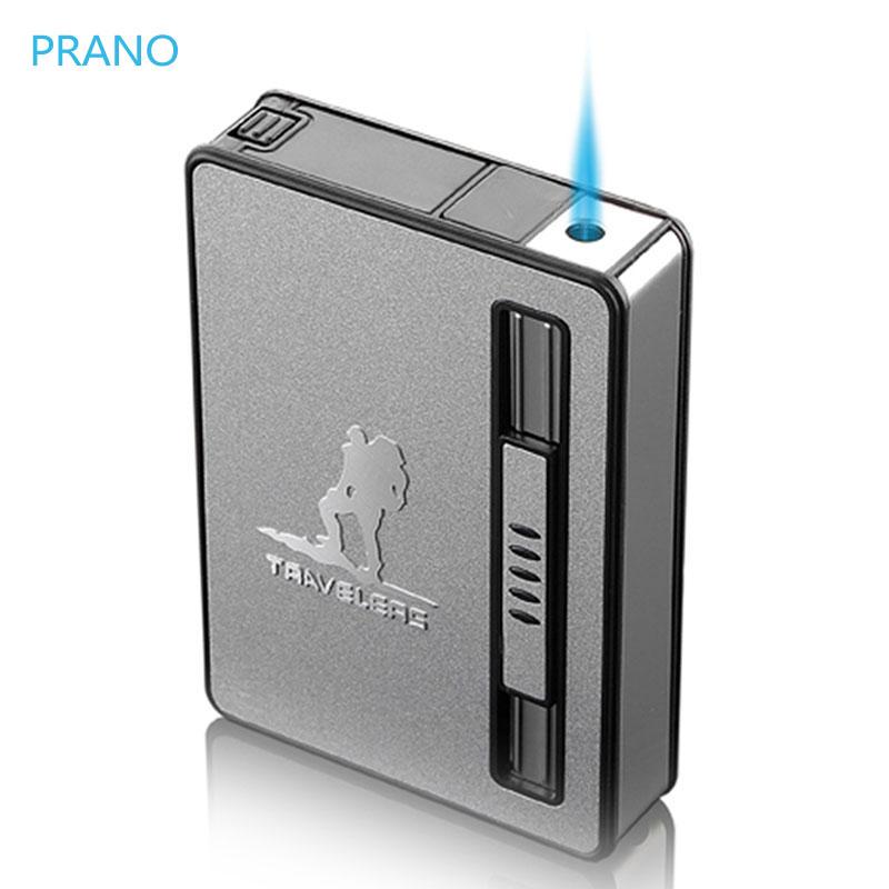 烟盒打火机创意10支装20一体个性便携式男士自动弹烟防风烟盒定制