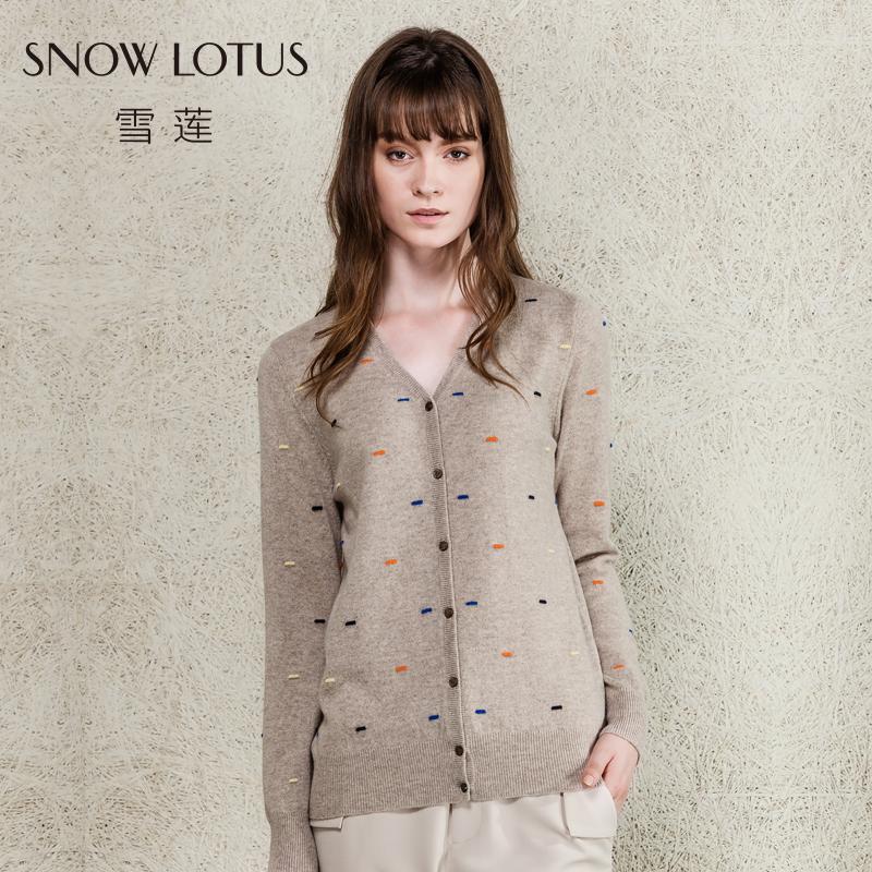 雪莲 秋冬新款纯羊绒波点提花羊绒开衫 V领提花针织外套女