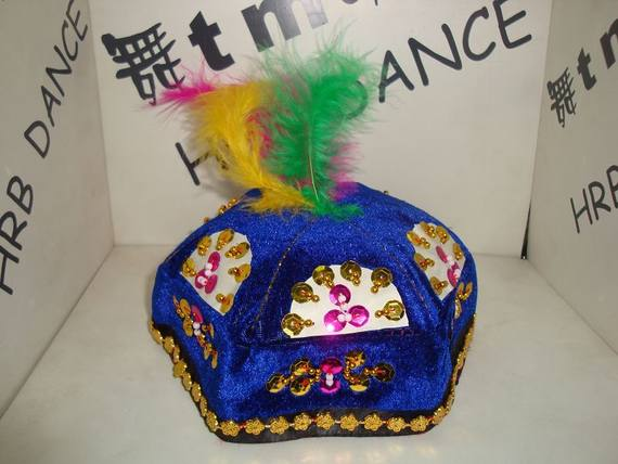 Boys Xinjiang Hat Feather Xinjiang Dance Performance Cap / 댄스 소품 / 민족 소품 / 댄스 캡