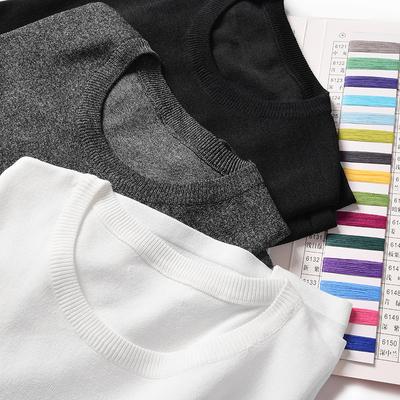 夏装男士冰丝针织短袖T恤 白色圆领针织衫 大码胖子纯色打底短袖