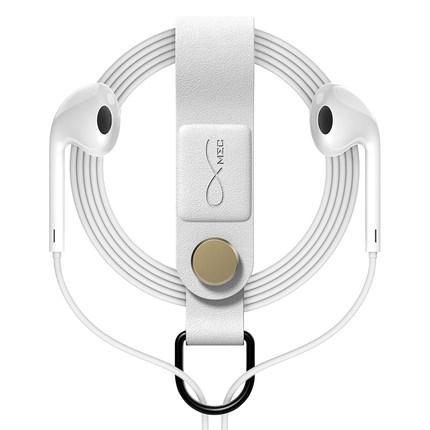 MEC耳机绕线器耳机收纳器防缠绕磁吸固定扣皮质多功能挂耳机线