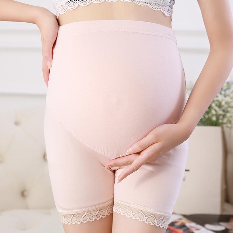 孕妇安全裤春夏装百搭超薄高弹莫代尔蕾丝打底三分裤防走光托腹裤