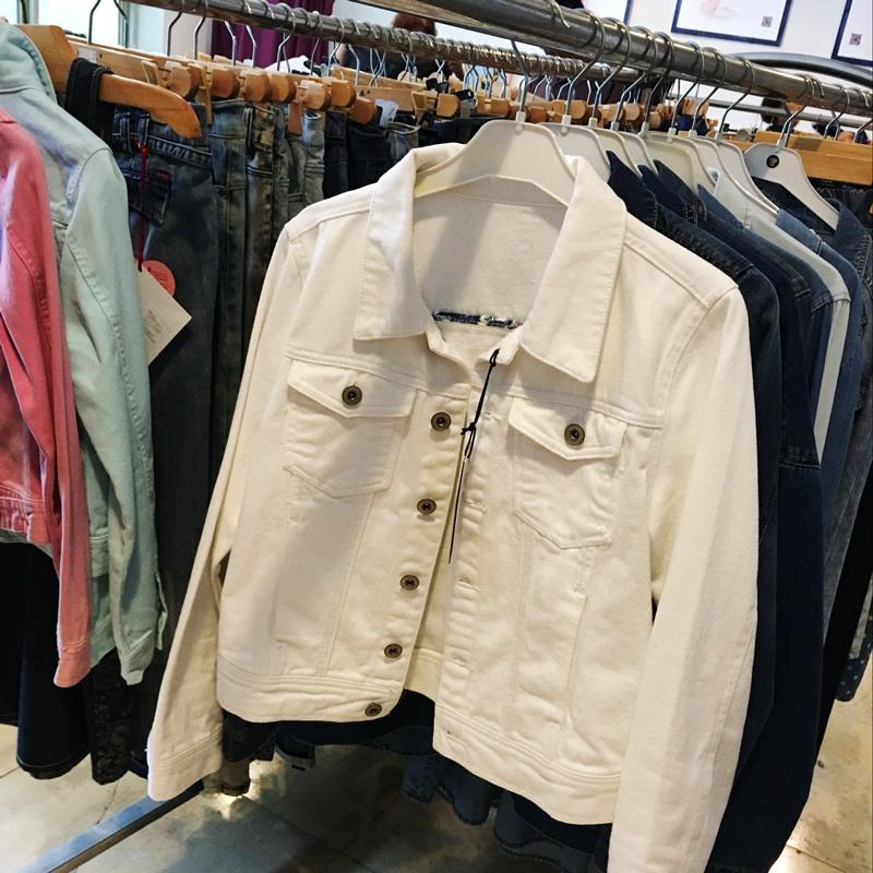 白色牛仔外套女短款秋季学生粉色长袖韩版修身显瘦百搭牛仔衣2018