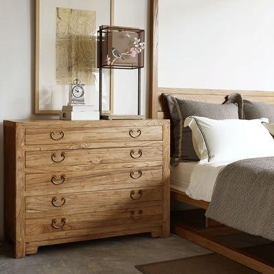 摆设出品 新中式简约5屉储物柜做旧床头柜复古沙发边柜实木家具
