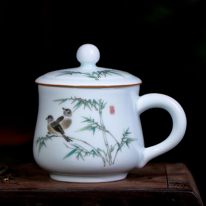 景德镇茶杯陶瓷带盖 青瓷瓷器家用小水杯办公室单杯个人杯子茶具