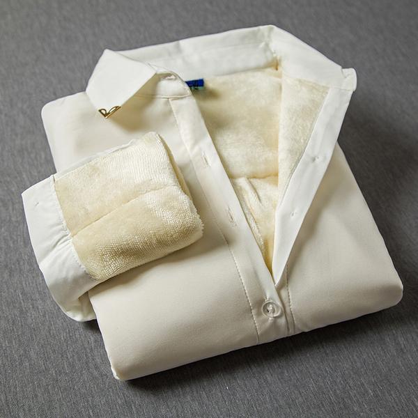加绒加厚新款保暖女士长袖衬衫女装白色雪纺打底衫女修身百搭