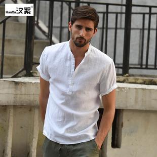 汉絮小清新白色短袖立领亚麻衬衫男士休闲麻料上衣修身棉麻衬衣男