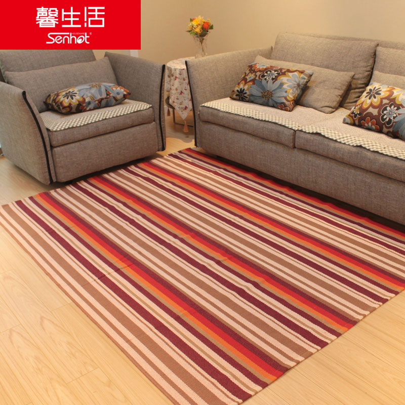 馨生活条纹棉线床前毯