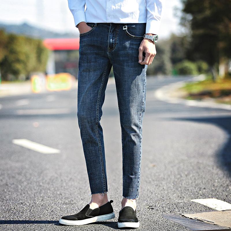 Лето 2017 новый облегающий, южнокорейская версия студент джинсы ноги девять очков тенденция дикий эластичность мужской брюки