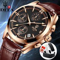 迪塔正品时尚潮流男表夜光真皮带石英腕表防水学生休闲男士手表