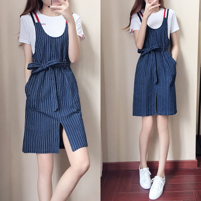 短袖连衣裙两件套2018夏季新款潮韩版时尚显瘦牛仔背带裙女装套装