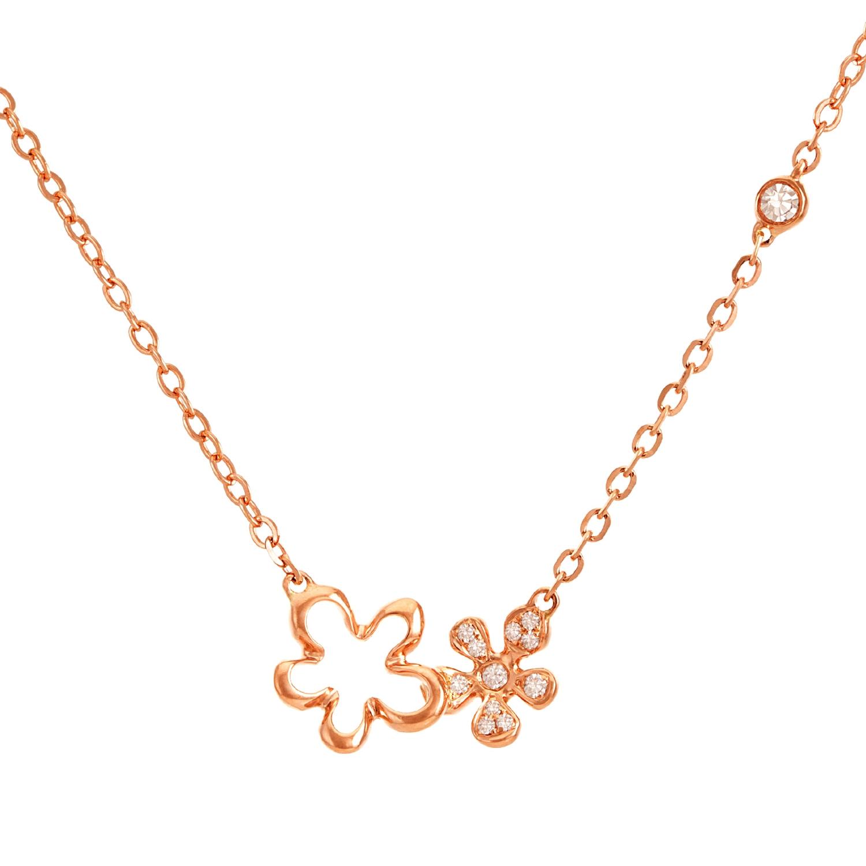戴妮珠宝18K玫瑰金0.9分钻石女戒群镶嵌钻玫瑰金时尚花型项链吊坠