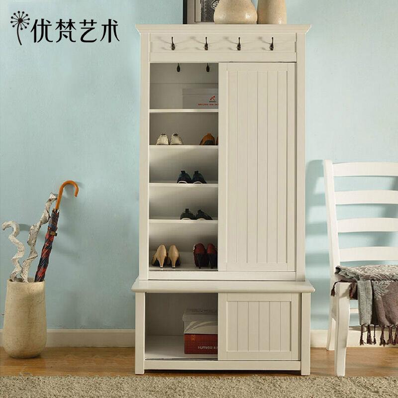 优梵艺术美式实木白色储物柜 PK0013