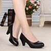 正装粗跟真皮工作鞋女黑色中跟单鞋优雅职业工鞋软皮鞋女鞋高跟鞋