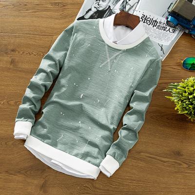 CreamSoda 冬季上衣服男装长袖t恤男士秋衣加绒加厚保暖卫衣秋季针织打底衫